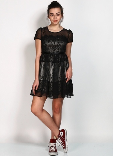 Zibi London Kısa Kollu Tül Elbise Siyah